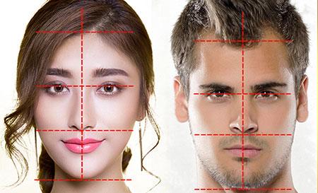 Gesichtsproportionen für Haarlinie